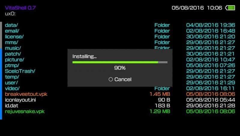 vitashell_installing