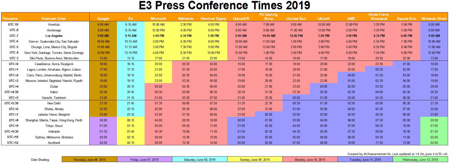 schedule with timezones
